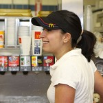 Western Elementary School psychologist Liliana Felix, right, serves up some ice-cold drinks during Teacher's Night at McDonald's on Rubber Avenue in Naugatuck. Ten teachers worked at McDonald's from 5-8 p.m. June 2 to raise money for the school. Ten percent of sales will be donated to the school.